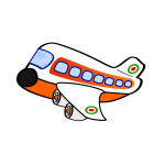 Cartoon image of an aircraft with four engines