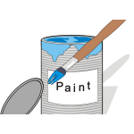 Blue paint can and brush vector illustration
