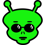 Green alien's face