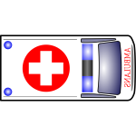 Medical van top view vector illustration