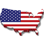 america flag map 3d drop shadow