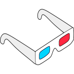 3D glasses vector sketch
