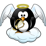 Penguin in Heaven vector illustration