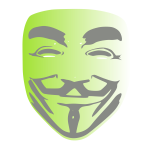 Anonymous face green background