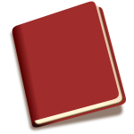 Tilted red book with shadow