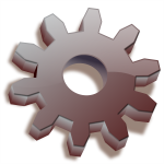 3D brown gear icon vector drawing
