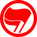 Vector drawing of red antiimperialist action label