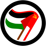 Vector illustration of antiimperialist action label