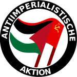 Clip art of anti-imperialist action color logo