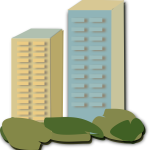 Vector drawing of two apartment blocks