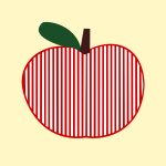 Vector clip art of striped symmetrical apple