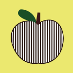 Vector image of striped symmetrical black apple