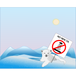 Polar bear with '' no new oil'' sign vector image