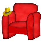 Red chair and hat.