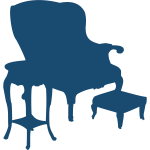 Armchair and table silhouette vector image