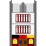 Vector image of art deco style commercial building