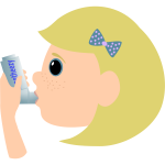 Vector image of young girl using asthma spray