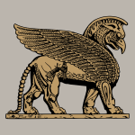 Winged lion in golden color