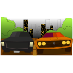 Vector clip art of colorful cartoon cars running on the street
