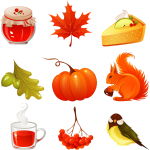 Vector image of selection of autumn icons set