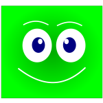 Vector illustration of green face smiling avatar
