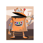 Rusty robot vector illustration