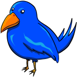 Blue bird with strange eyes and a big yellow beak vector clip art