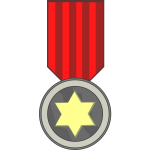 Vector clip art of star award medal on red ribbon