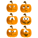 Six different pumpkin faces