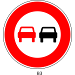 """No overtaking"" traffic sign"