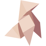 Brown origami bird vector graphics