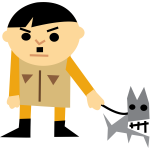 Cartoon vector graphics of a man with a dog
