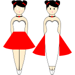 Vector image of ballerinas in red dresses