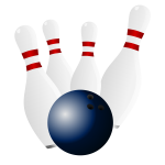 Bowling pins and bowling ball vector drawing
