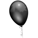 Vector drawing of black shiny balloon with shades