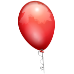 Vector drawing of red balloon on a decorated string