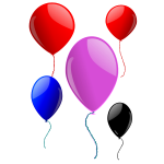 Vector clip art of five floating balloons