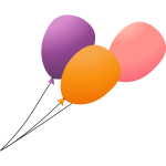 Three flying balloons on a lead vector image