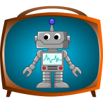 Bandro robot on TV vector image