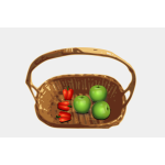 Vector clip art of basket with apples and peppers