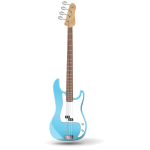 Illustration of blue bass guitar standing up