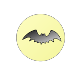 Bat over full moon vector drawing