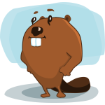 Vector image of cartoon beaver with funny look on its face