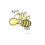 Vector image of comic honey bee