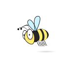 Vector illustration of cartoon bumble bee