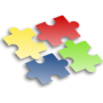 Colored jigsaw puzzle