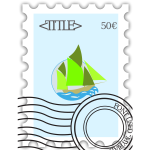 Vector illustration of stamped postage stamp,