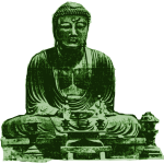 Big green Buddha vector drawing