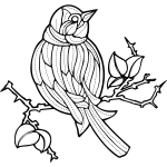 Vector image of a bird with embroidery pattern