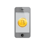 Bitcoin on iPhone vector illustration
